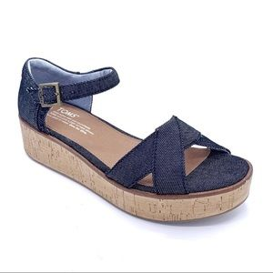 TOM'S Harper Black Denim Platform Wedge Sandals